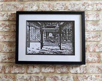 Pier Pencil Sketch, Old Fishing PIer, Pier Print, sketch effect Framed A4 or A3 Print