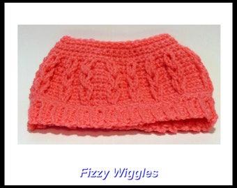 Adult Bun Hat/pink/crocheted/handmade/one of a kind/ messy bun hat/ponytail hat/crocheted hat/winter hat/ladies/teens/gift/