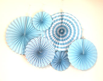 6 pcs light blue stripe polkadots paperfan rosette photo party backdrop for baby shower birthday Bachelorette party home decor nursery room