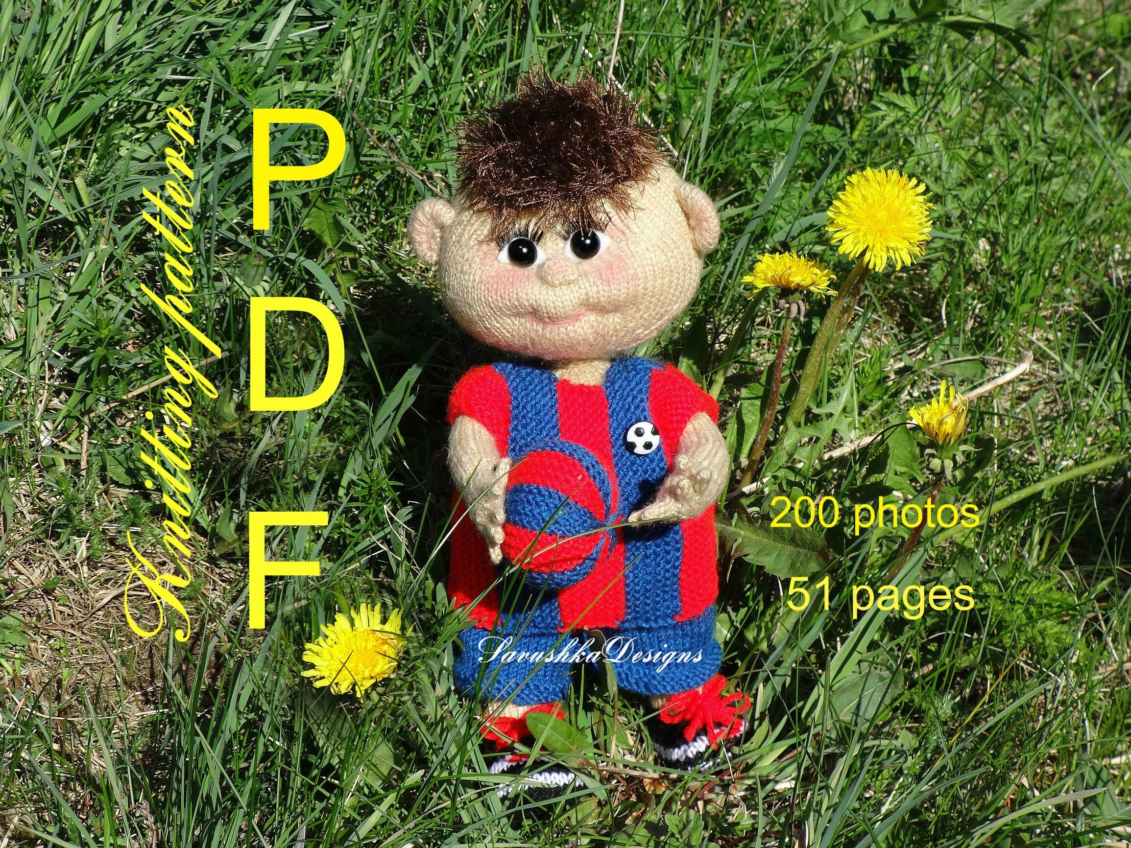 Pattern Knitting Football Soccer Doll Amigurumi doll pattern