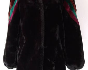Vintage late 70's Early 80's Black Faux Fur Coat Carol Horn