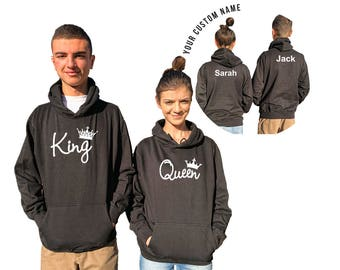KING QUEEN couple hoodies, personalized Back custom Names, Comes in a pair, Anniversary gift **BOTH