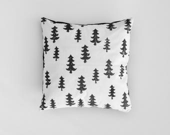 Woodland Forest Throw Pillow - Woodland Throw Pillow - Woodland Nursery - Monochrome Nursery - Nursery Pillow Cover - Woodland Pillow Cover