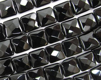 "10mm faceted black onyx flat square beads 15.5"" strand 34793"