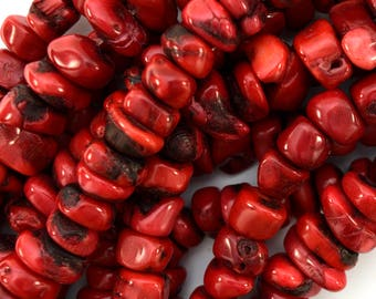 "5-8mm red coral nugget beads 16"" strand 39484"