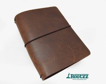 A6 Traveler's notebook brown leather - midori like- fauxdori