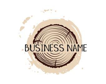 Custom Logo Design - Retro carver Logo - wood slice Premade Logo Design - wood carver Logo -Retro Logo - Business Logo wood slice round