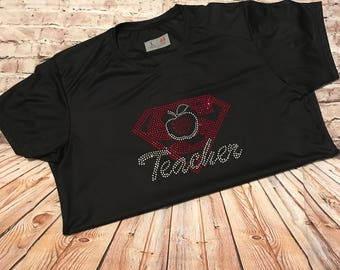 Superman Teacher, Superman Teacher Apple, Superman Teacher Rhinestone, Teacher Bling Shirt