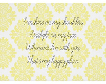 Yellow Damask Greeting Card: You're My Happy Place