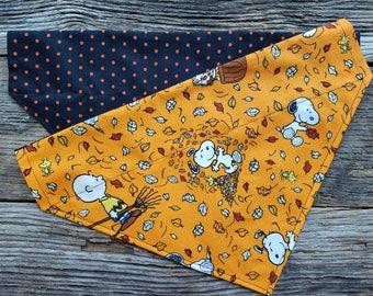 Dog bandana fall leaves and halloween colors slide over the collar