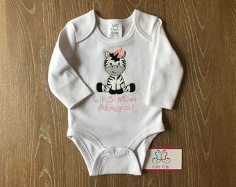 Baby Girl or Boy personalized Baby Zebra Bib, Bodysuit, Shirt  / Personalized baby  gif SET, Newborn SET