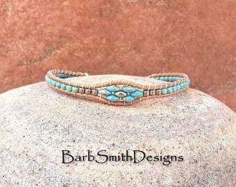 """Thin Wrap Bracelet, Turquoise Silver Leather Bracelet, Slender Beaded Bracelet, Size 7 1/4"""" or Custom, Magnet Clasp, Skinny Mini Desert Sky"""