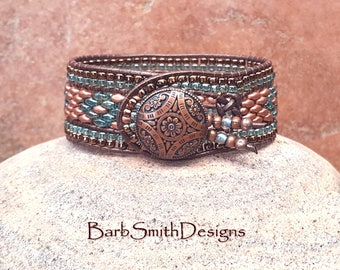Beaded Cuff Bracelet-Leather Beaded Wrap Bracelet-Copper Beaded Bracelet-Southwest Bracelet-Custom Sizes-Indian Princess Copper n' Celsian