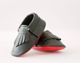 Black and Red black Loubouties Leather Baby Moccasins 3-6 months 6-12, 12-18 months adorable! Baby shoes!
