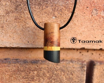 Grenadillo, Canary wood and ebony wood pendant necklace precious-made hand-Piece jewelry-unique Taamak