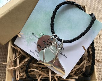 Mermaid Tail Genuine English Sea Glass Necklace. Handmade in the UK. Free UK Delivery. Gift Box included!