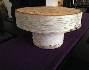 "9.5""  Wood Cake Stand , Wedding Cake Stand , Birch Cake Stand , Centerpiece"