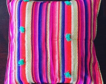 Woven boho, colourful cushion cover