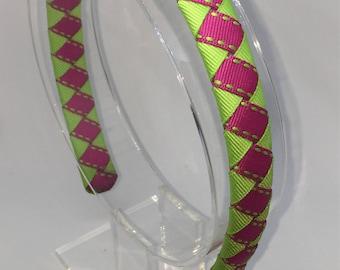 """Weaved grosgrain ribbon Headband, child headbands, braided ribbon covered headband, 1"""" headband, 4 colors"""