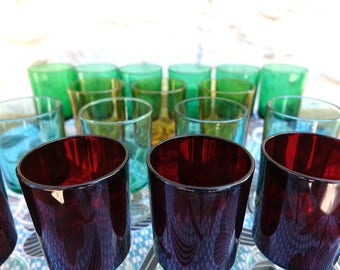 Stemmed glasses - french vintage - Luminarc Glasses - vintage color to choose from 4 colors