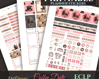 SALE 50% OFF Coffee Date Fashion Illustration African AmericanErin Condren Weekly Planner Sticker Weekly Stickers Printable Cutfiles Silhoue