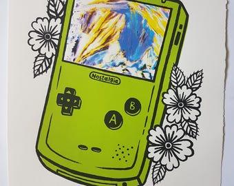 Nostalgia Green Gameboy Silkscreen Print