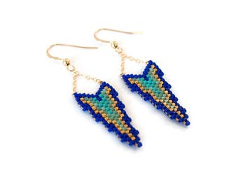Earrings with Miyuki beads and gold Golfilled ▲ blue and green