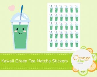 Kawaii Green Tea Matcha Stickers, Planner Stickers, Erin Condren Life Planner