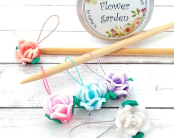 Rose stitch markers with notions tin - flower stitchmarkers - polymer clay place holders for knitting