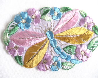 Dragonfly Applique 1930s Vintage embroidery Sewing supply Crazy quilt. #6A8G43KB