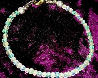"Bracelet ""Apatite & Berg Crystal"""