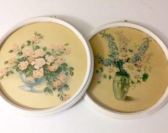 Vintage set of 2 framed artworks art prints shabby chic wall art wall decor flowers pink roses boho bohemian decor