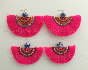 HOT PINK Fringe Statement Earrings | XL version, multicolored, pink, gemstone, boho, lightweight, multicolor, blue and white, chinoiserie
