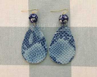 BLUE Python Print Earrings | Chinoiserie, statement earrings, gold, animal, snake skin, blue and white, leather