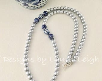 Silver Chinoiserie Beaded Necklace | blue and white, long, wooden, Chinese, Asian, statement necklace, navy