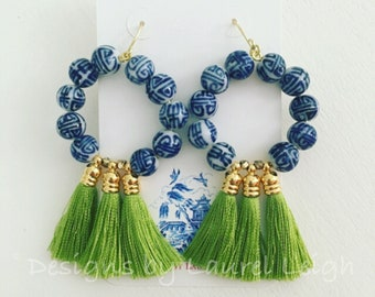 Chinoiserie Tassel Hoop Earrings | APPLE GREEN, blue and white, royal blue, porcelain, gold, green, peridot