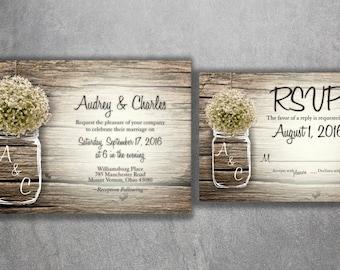 Mason Jar Wedding Invitation, Rustic Wedding Invitations, Baby's Breath, Country Wedding Invitations, Affordable, Barn Wood, Wedding Card