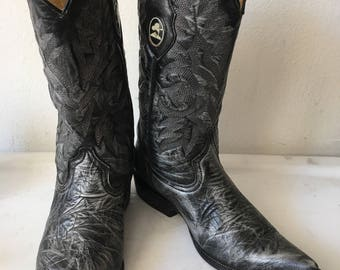 Gray unisex cowboy boots from real leather, embroidered vintage style western style country old boots retro men's size-7 women's has size-8.