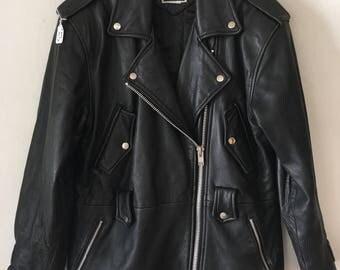 Rocker Style Smooth Long Vintage Black Genuine Leather Jacket Men's Size Medium.
