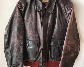 Flight Short Vintage Brown Heavy Genuine Leather Jacket Men's Size Medium.
