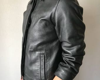 Black women's jacket, made from real leather, really soft leather, short jacket, jacket for lady, old jacket, classic, vintage, size-small.