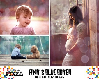 PINK and BLUE BOKEH, Bokeh Overlays, Photoshop Overlays, Bokeh Lights, Photoshop Bokeh, Digital Paper, Gender Reveal