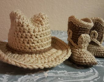 Infant cowboy boots and hat