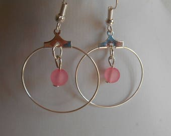 Mini hoops with their Pink Pearl Heart