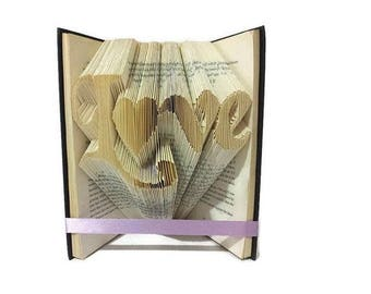 Love folded book - Paper Anniversary - Anniversary - Boyfriend - Girlfriend - Valentine's Day - Christmas - Mother's day - Fathers day