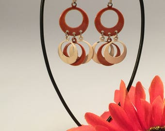 Vintage Orange & Cream Enameled Dangle Clip Earrings