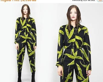 FLASHSALE 35% OFF vtg 90s  black green foliage floral novelty GRAPHIC All Over Print 2 Piece Matching Set Blouse Pants S M