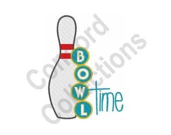 Bowl Time - Machine Embroidery Design, Bowling - Machine Embroidery Design