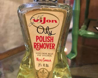 Vintage Vijon oily nail polish remover with remover remaining in bottle
