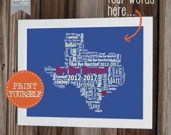 Qatar Dubai Personalized Map Farewell Gift Word Art - Us word map illionis